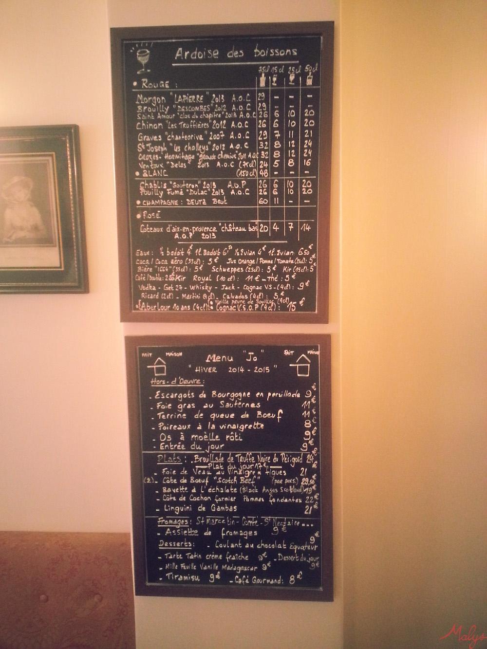 menu + boissons chez Jo